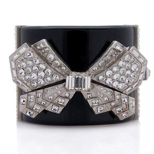 Chanel Black Resin Crystal Bow Bangle / Bracelet